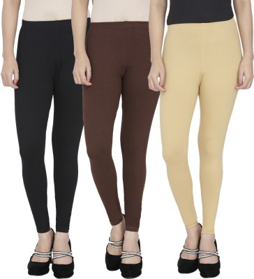 Anekaant Girl's Black, Brown, Beige Leggings