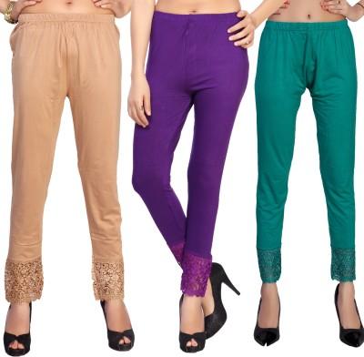 Comix Women's Beige, Purple, Green Leggings