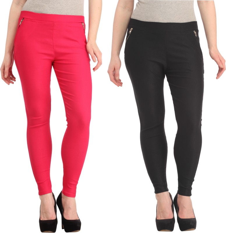 Skyline Trading Women's Black, Pink Jeggings