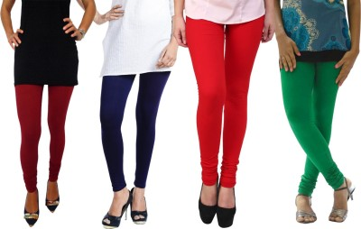 Escocer Women's Maroon, Blue, Red, Green Leggings