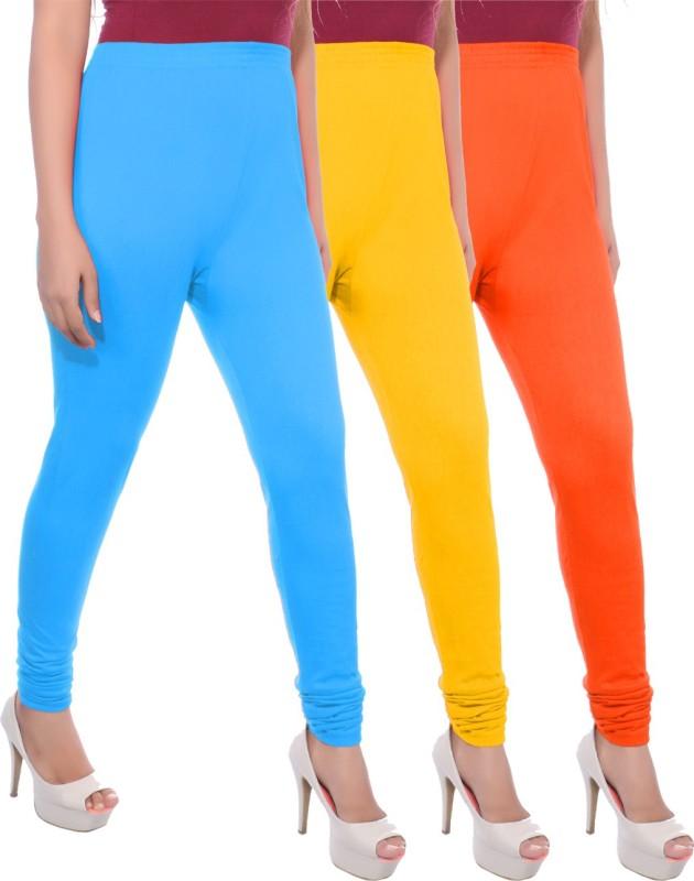Apple Knitt Wear Women's Maternity Wear Blue, Yellow, Orange Leggings(Pack of 3)