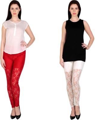 Simrit Women's Red, White Leggings