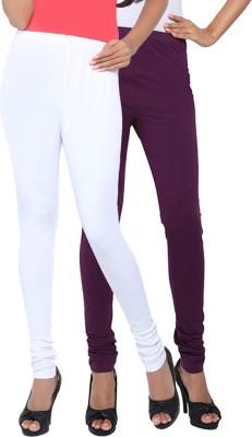 Fascino Women's White, Purple Leggings