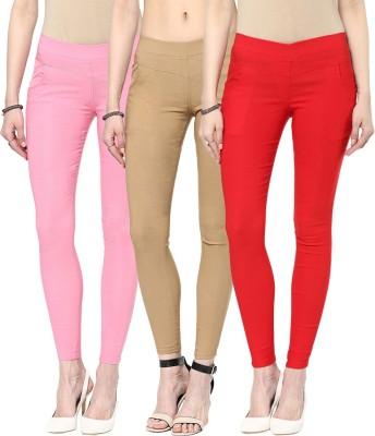 Zea-Al Women's Pink, Beige, Red Jeggings