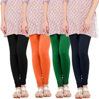 WellFitLook Women's Black, Orange, Green, Blue Leggings