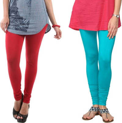Fashionjackpot Women's Red, Light Blue Leggings