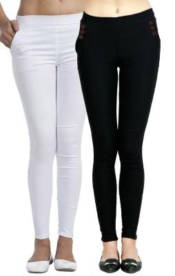 FTCBAZAR Women's White, Black Jeggings