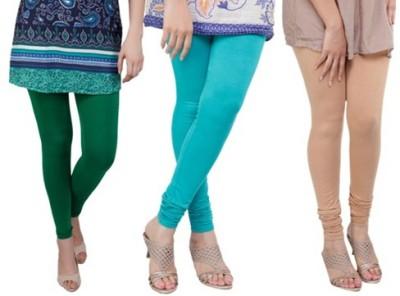 Prekrasna Women,s Green, Light Blue, Gold Leggings