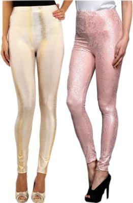 indian street fashion Women's Gold, Pink Leggings
