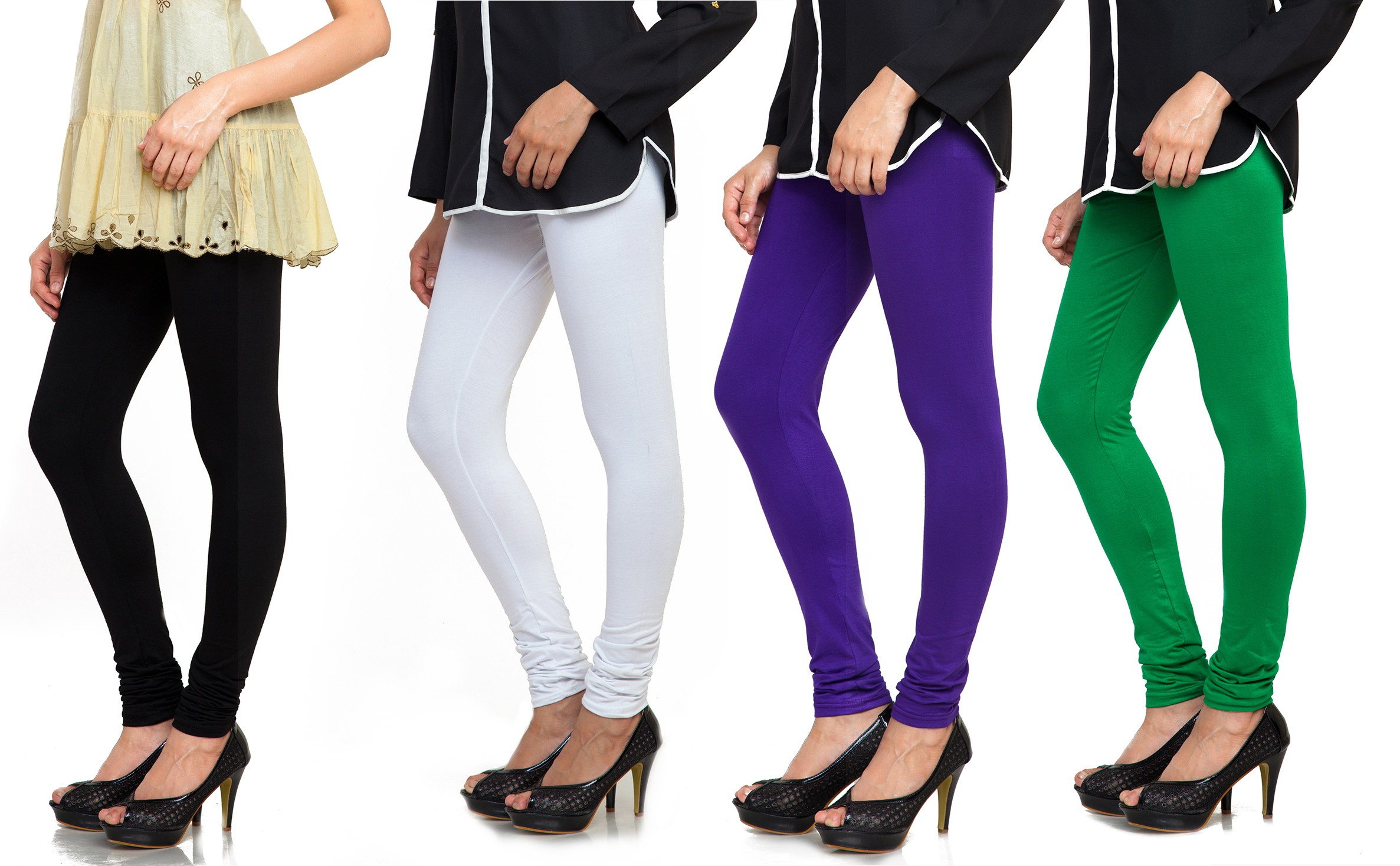 Bulbul Womens Black, White, Blue, Green Leggings(Pack of 4)
