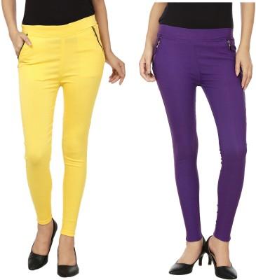 Lambency Women's Yellow, Purple Jeggings