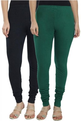 NE Women's Black, Green Leggings