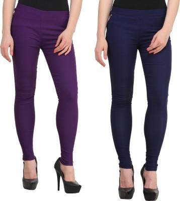 PRIHO Women's Purple, Dark Blue Jeggings