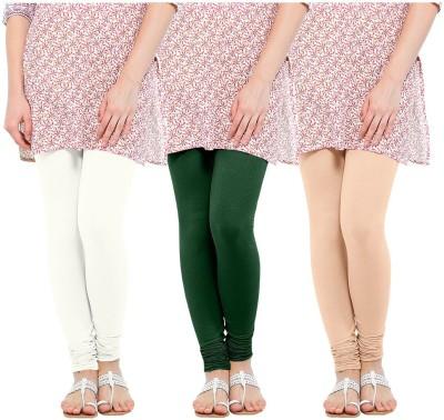 Oh Fish Women's Green, White, Beige Leggings