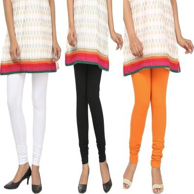 Agrima Fashion Women's White, Black, Orange Leggings