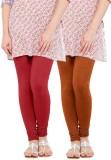 WellFitLook Women's Red, Brown Leggings ...