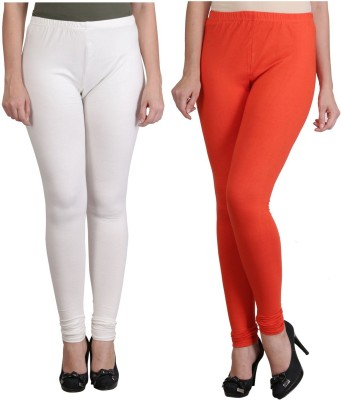 Ahhaaaa Women's White, Orange Leggings