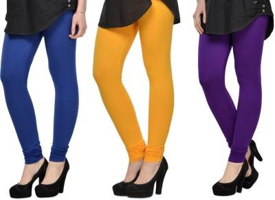SareeGalaxy Women's Blue, Yellow, Purple Leggings