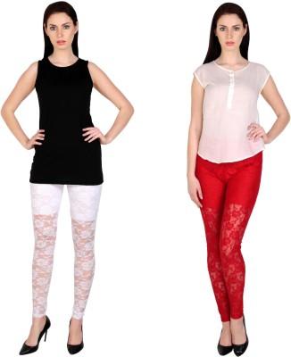Simrit Women's White, Red Leggings