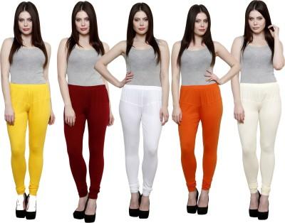 Pistaa Women's Yellow, Maroon, White, Orange, White Leggings