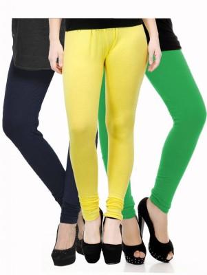 Fashion Zilla Women's Dark Blue, Yellow, Light Green Leggings