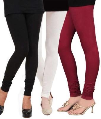 divine creations Women's White, Maroon, Black Leggings
