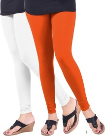 Arma Women's White, Orange Leggings(Pack of 2)