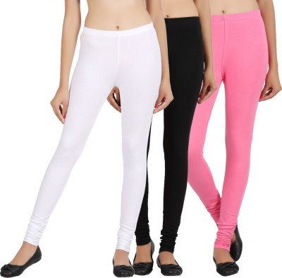 Sewn Women's White, Black, Pink Leggings