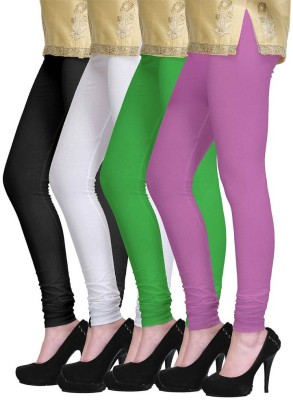 Lasunj Women's Black, White, Green, Purple Leggings