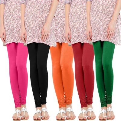 WellFitLook Women's Pink, Black, Orange, Red, Green Leggings