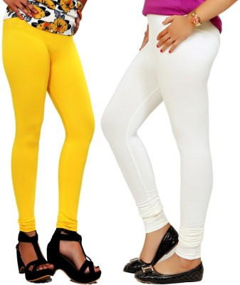 By The Way Women's Yellow, White Leggings