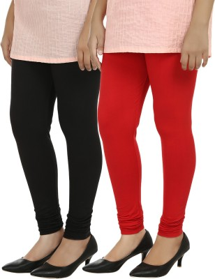 Day By Day Women's Red, Black Leggings