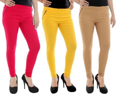 Paulzi Women's Pink, Yellow, Beige Jeggings