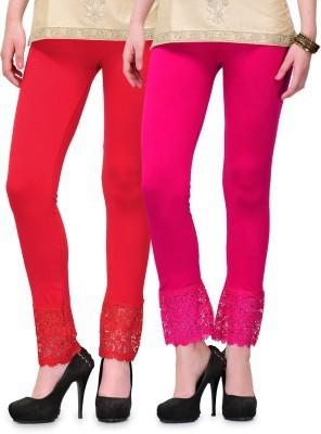 Fashion Arcade Women's Red, Pink Leggings