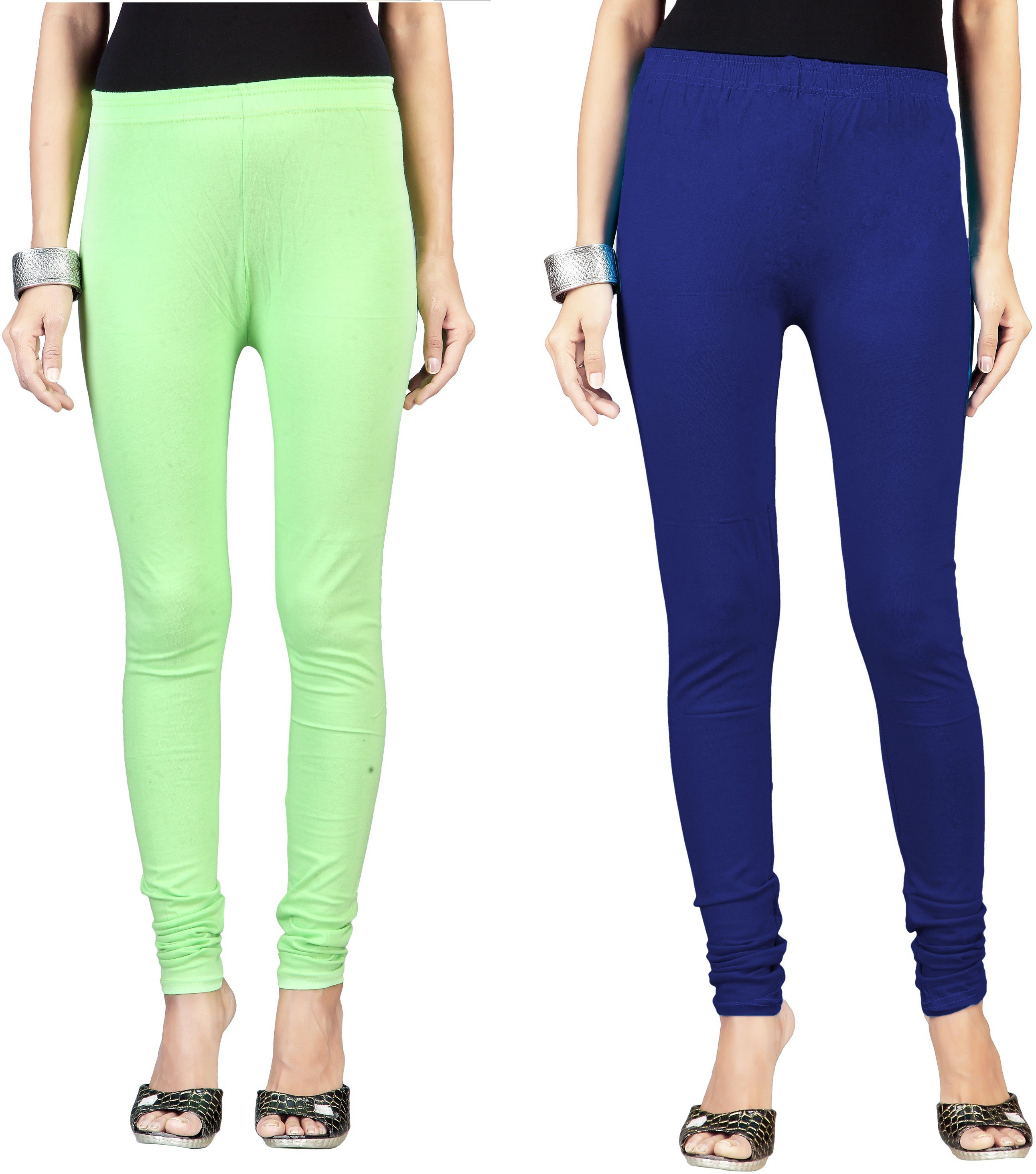 Ambrai Womens Light Green, Dark Blue Leggings(Pack of 2)