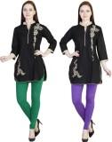 MDR Women's Green, Purple Leggings (Pack...