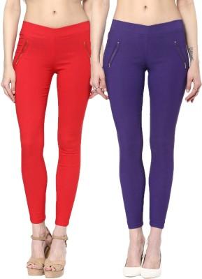Zea-Al Women's Red, Purple Jeggings
