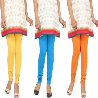 Agrima Fashion Women's Yellow, Light Blue, Orange Leggings