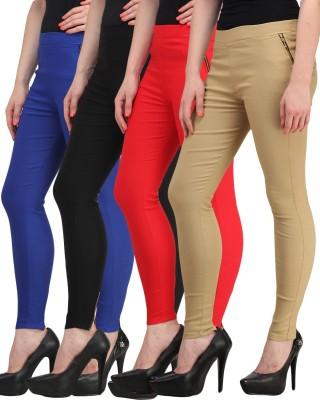 Jainish Women's Black, Red, Beige, Blue Jeggings