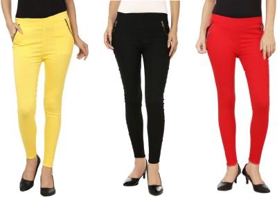 Lambency Women's Yellow, Red, Black Jeggings