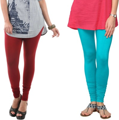 Fashionjackpot Women's Maroon, Light Blue Leggings