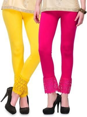 Fashion Arcade Women's Yellow, Pink Leggings