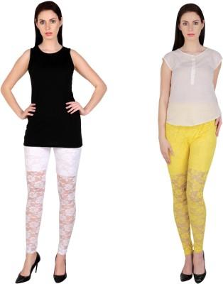 Simrit Women's White, Yellow Leggings