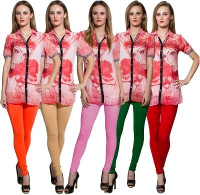 Both11 Women's Orange, Beige, Pink, Green Leggings