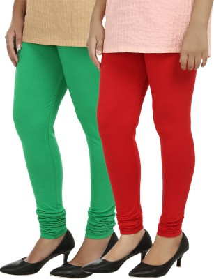 Day By Day Women's Red, Green Leggings