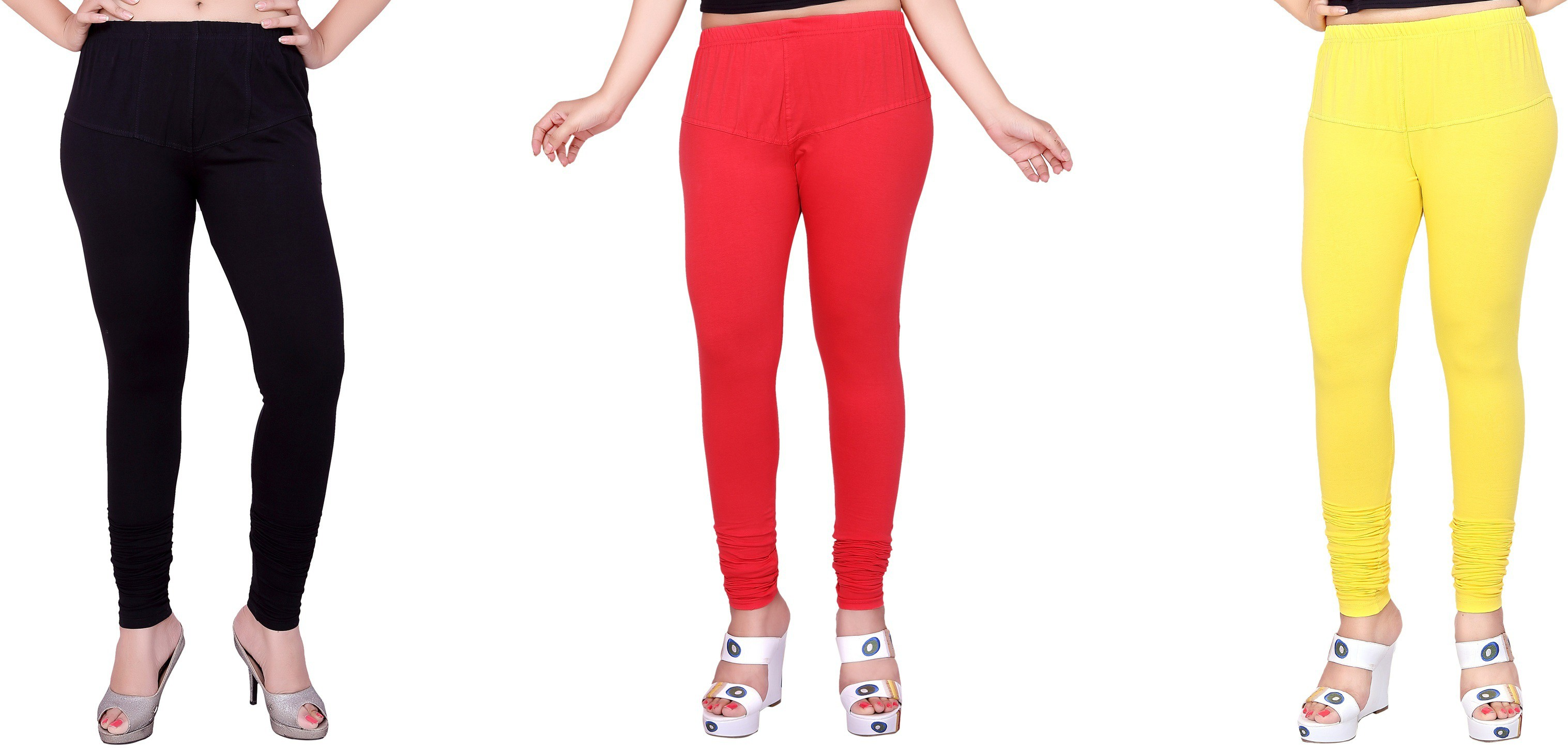 Fck3 Womens White, Red, Yellow Leggings(Pack of 3)