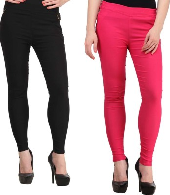 Magrace Women's Black, Pink Jeggings
