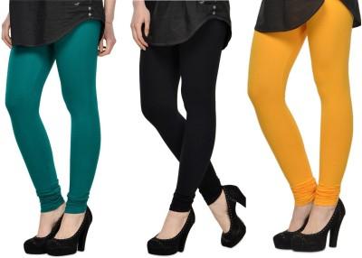 SareeGalaxy Women's Dark Blue, Black, Yellow Leggings