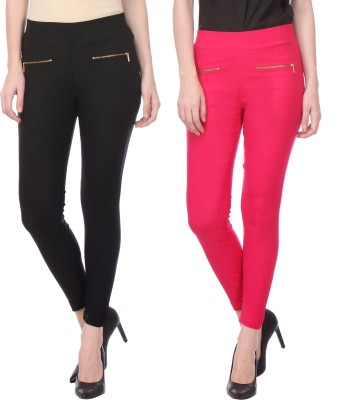 Flying Duck Women's Black, Pink Jeggings
