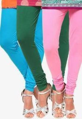 StyleJunction Women,s Green, Light Blue, Pink Leggings